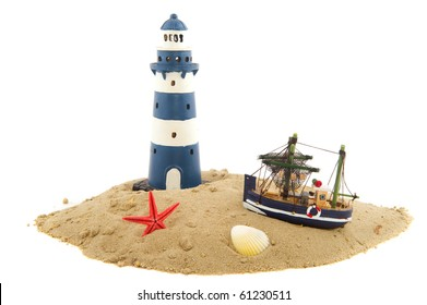 Coast scenery with lighthouse fishing trawler and starfish