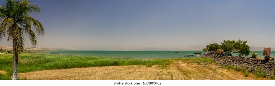 The Coast of the Sea of Galilee near Ginosar, Israel. Panorama