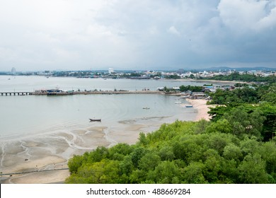 Coast sea with jetty on mangrove forest in pattaya