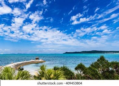 Coast, sea, landscape, seascape. Okinawa, Japan, Asia.