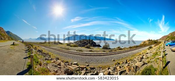Coast and sea near Anchorage, Seward Highway, Alaska, USA