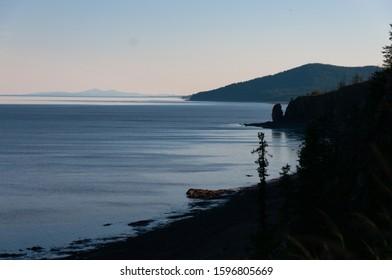 Coast of the Sea of Okhotsk in Khabarovsk region in summer