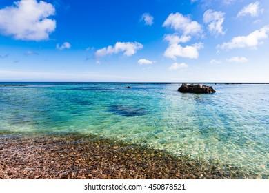 Coast, shore, pebbles, landscape. Okinawa, Japan, Asia.
