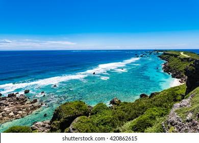Coast, shore, sea, landscape, seascape. Okinawa, Japan, Asia.