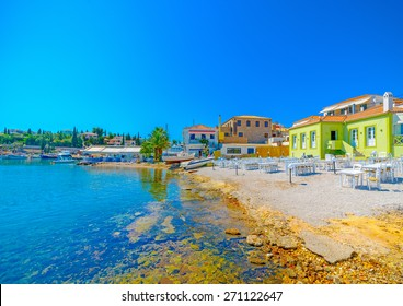 the coast of Spetses island in Greece
