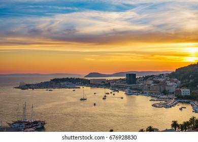 Coast of Split sunset, Dalmatia, Croatia