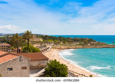 Coast of Tarragona in sunny day, Catalunya, Spain. Copy space. Space for text