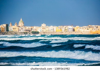 The coast of Trapani seen after a storm