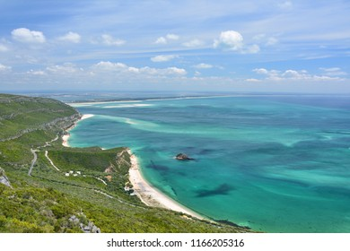 Coast view of Atlantic Ocean in Portugal. White sand beaches