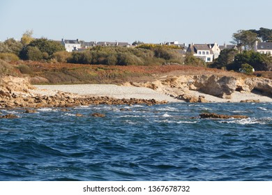 Coast view from the sea in Brittany