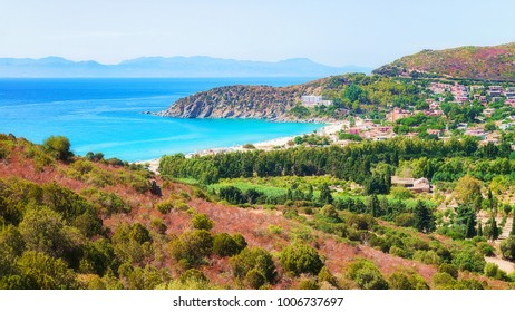 Coast of Villasimius at the Mediterranean sea, Cagliari, South Sardinia in Italy