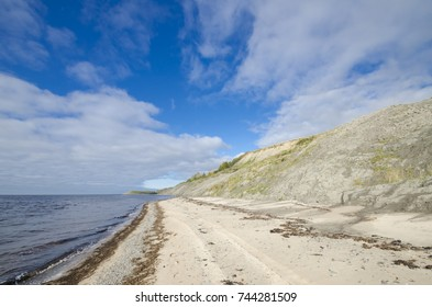 Coast of the White Sea in the area of the village of Lyamtsa. Russia, Arkhangelsk region, Onega district
