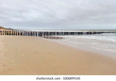 coastal beach scenery at the North Sea near Domburg in Walcheren in the dutch province of Zeeland
