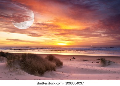 Coastal Beach Sunset Sky, Sand Dunes and Super Moon