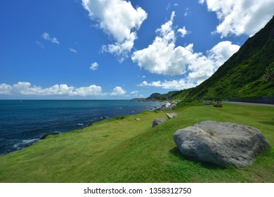 Coastal Blue Sky Sea view, white clouds fluttering across, beautiful and fresh scenery and natural.