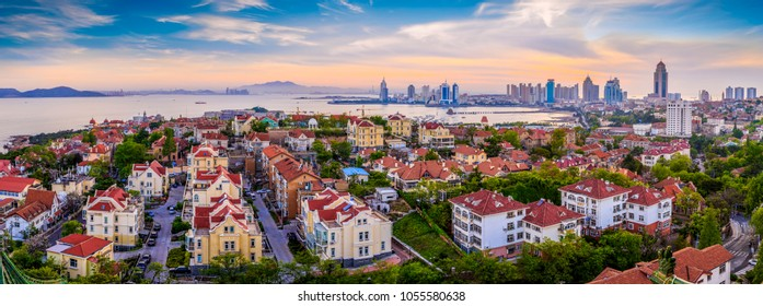 Coastal city Qingdao urban architectural landscape skyline