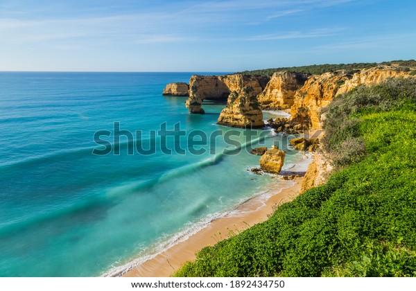 Coastal cliffs of Algarve, Lagoa, Portugal