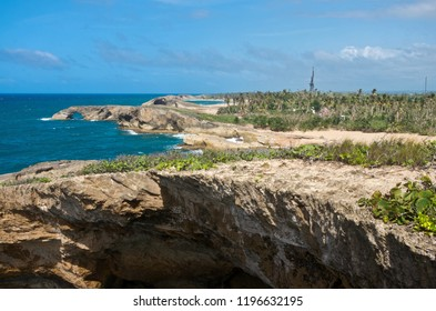 coastal cliffs and beaches of punta las tunas at cueva del indio along puerto rico's north coast