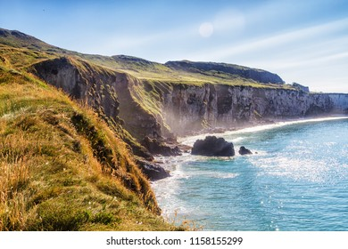 Coastal cliffs in County Antrim, Northern Ireland near Portrush and Carrick-a-Rede