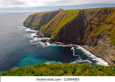 Coastal cliffs on Cape St Mary in Newfoundland