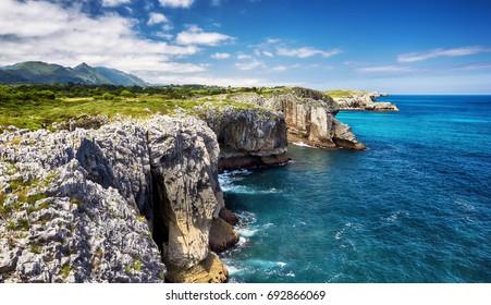 Coastal cliffs, sea side view from Buelna. Seascape of the Buelna Coast in Asturias, Spain.