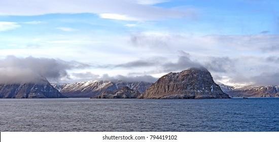 Coastal Clouds in the High Arctic in Sunneshine Bay near Cape Dyer on Baffin Island in Nunavut, Canada