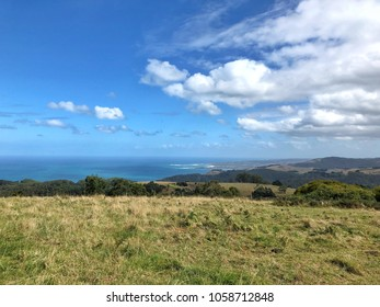 Coastal Country landscape in Australia with clouds and rolling hills