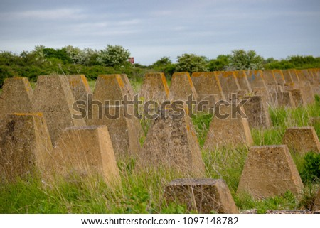 Coastal defences on the Isle of Grain, Kent United Kingdom from World War 2 to defend against a Nazi invasion of Britain