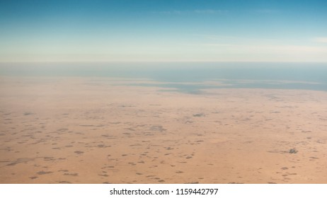 Coastal desert aerial view in the Persian Gulf