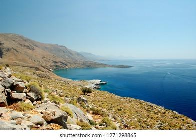 Coastal deserted landscape between Loutro, Agia ROumeli and the Samaria Gorge (Crete, Chora Sfakion, Greece) during a hike on the GR E4.