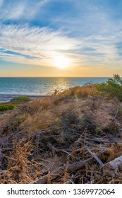 Coastal dune landscape in Shark Bay in Western Australia during beautiful sunset