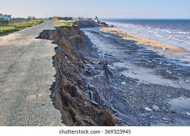 Coastal erosion of the cliffs at Skipsea, Yorkshire on the Holderness coast