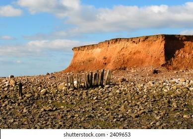 Coastal erosion at Sunderland Point, Lancashire, England