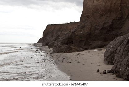 Coastal erosion in Yorkshire, on the East coast of England
