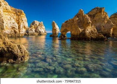 Coastal exposure of the beautiful beach of the Ponta da Piedade in Lagos, Algarve, Portugal