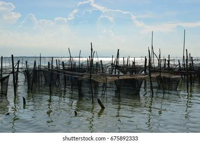 Coastal fishing in Koh Yor at Songkhla Lake Thailand.