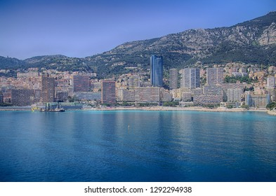 Coastal hills and cityscape harbor  of Monte Carlo, Monaco