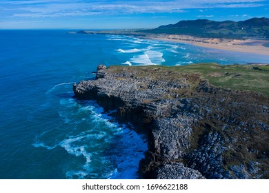 Coastal Landscape around Usgo Beach, Dunes of Liencres Natural Park, Liencres village, Pielagos Municipality, Cantabrian Sea, Cantabria Autonomous Community, Spain, Europe