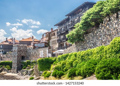 Coastal landscape banner, panorama - embankment with fortress wall in the city of Sozopol on the Black Sea coast in Bulgaria,Sozopol Bulgaria,June 12 2019
