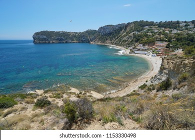 Coastal landscape beach and rocky coast in Javea, Cala Portitxol, Mediterranean sea, Costa Blanca, Alicante, Valencia, Spain