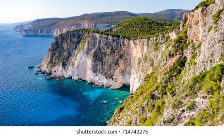 Coastal landscape of Cape Keri. Greek resort island Zakynthos in the Ionian Sea