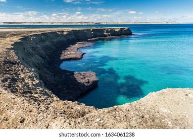 Coastal landscape with cliffs in Peninsula Valdes, Patagonia Argentina.