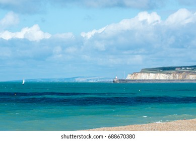Coastal landscape of East Sussex looking from Seaford towards Brighton and beyond