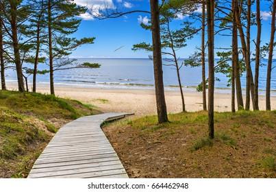 Coastal landscape in famous European resort of Jurmala, Latvia