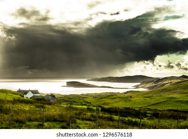Coastal Landscape With Heavy Clouds At Oldshoremore Beach Near Kinlochbervie In Scotland