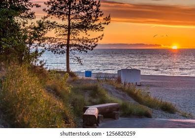 Coastal landscape in Jurmala during sunset. Jurmala is a famous international tourist resort and lovely recreation place in Latvia, Europe