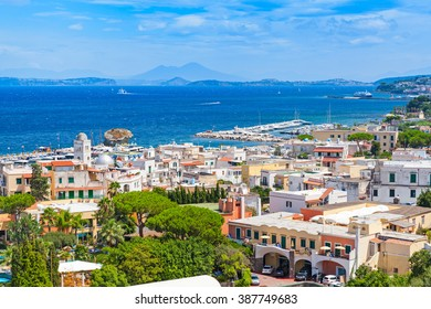 Coastal landscape of Lacco Ameno resort. Ischia island, Italy. Mediterranean Sea coast