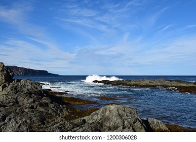 coastal landscape near Torbay, Silver Mine Head Path; East Coast trail Avalon peninsula, NL Canada