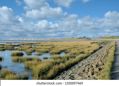 coastal Landscape at North Sea in Norddeich,East Frisia,lower Saxony,Germany