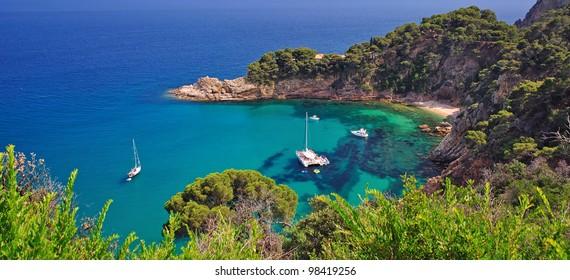 coastal Landscape on the Costa Brava Coast near Tossa de Mar,Catalonia,Spain